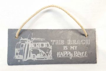 """The Beach Is My Happy Place"" Hanging Slate Plaque"